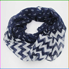 Cheap Fashion Marine Style Navy Anchor and Chevron Print Infinity Scarf