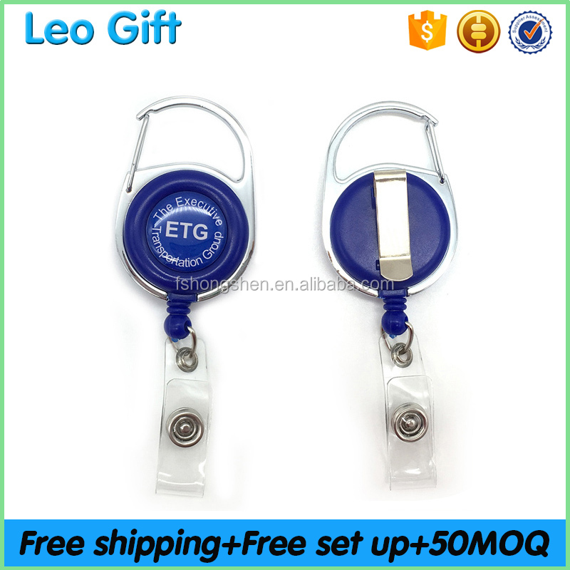 50pcs of MOQ Retractable string ABS ID card Carabiner Badge Reel