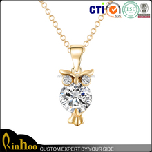 Beautiful Gold Plating Clear Zircon Owl Shape Pendant Necklace