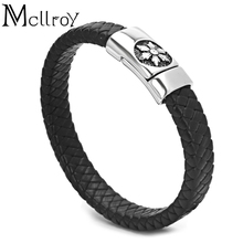 Mcllroy top selling wholesale cowhide titanium steel button magnetic leather flower men bracelet