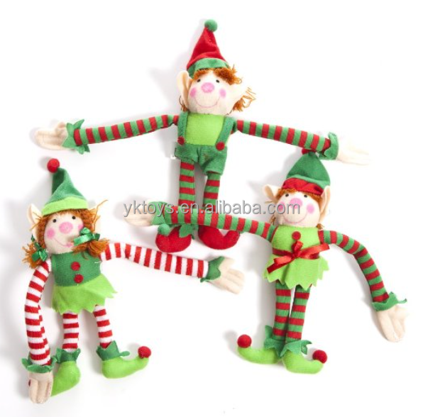 Plush long armed elf magic tape in hands plush hanging toy christmas decoration holiday gift