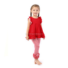 2017 baby clothes girls red tunic top & striped ruffle legging outfit fashion kids boutique clothing