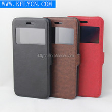 high qualtiy flip leather case with clock window from China manufacture KFLY