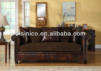 Red sandalwood with leather living room furniture set,royal classical home sofa (BF01-20044)