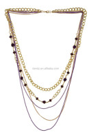 Multi Layered Metal and Beaded Strand/Strings Necklace