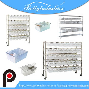 Laboratory rat cages with stainless steel rack
