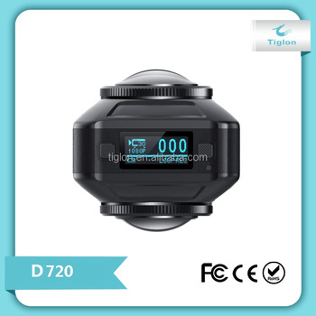 New Fashion Design 360 Degree 720 degree dual lens Action camera Panorama view Sport Camera D720