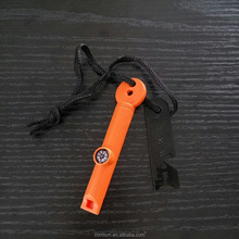 multifunctional mini fire starter / fire maker with scrape & whistle & compass