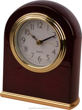 Pretty mahogany wooden silent table alarm clock