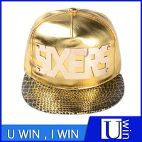 Gold PU Sport Cap With Metallic Iron Letter Snapback Cap For Hiphop Fashion