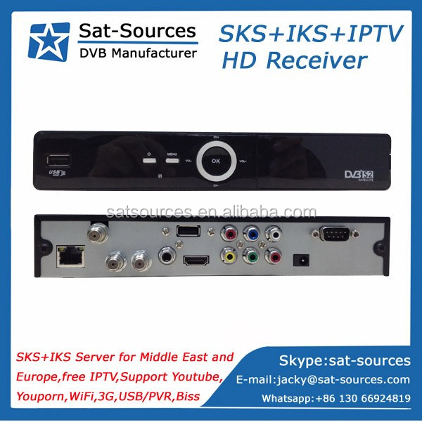 Card Sharing Twin Tuner Satellite Receiver with SKS IKS IPTV for Middle East and Europe