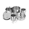 Portable Camping Kitchen Stainless Steel Camping Frying Pan Set