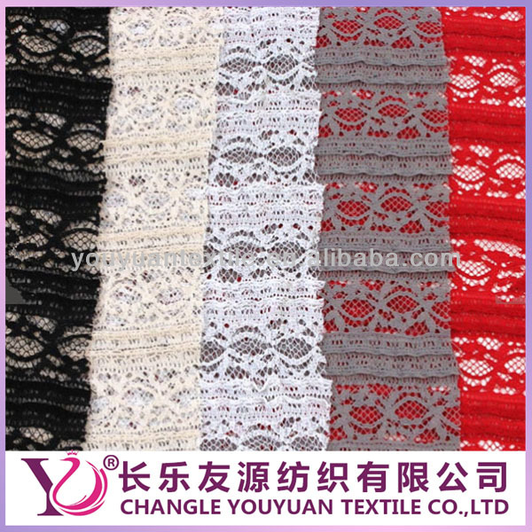Hot selling Ruffle stretchy lace fabric by the Yard