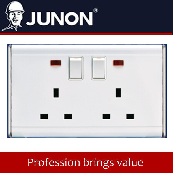 BK Silvery 13A Twin 3 Pin Socket with switch & Neon electrical wall socket