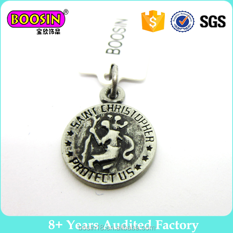Wholesale black small round metal alloy brand tag custom logo charm jewelry # 19653