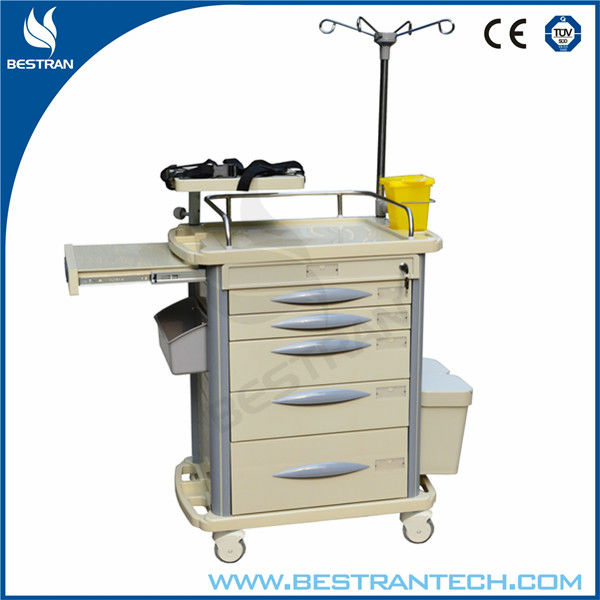 China BT-EY003 hospital abs medical emergency crash cart cheap emergency equipment cart with wheels