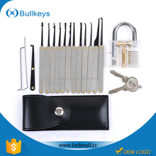 Bullkeys Transparent cutaway padlock+ 12 Piece Unlocking Lock Pick Set for used locksmith tool TL-03