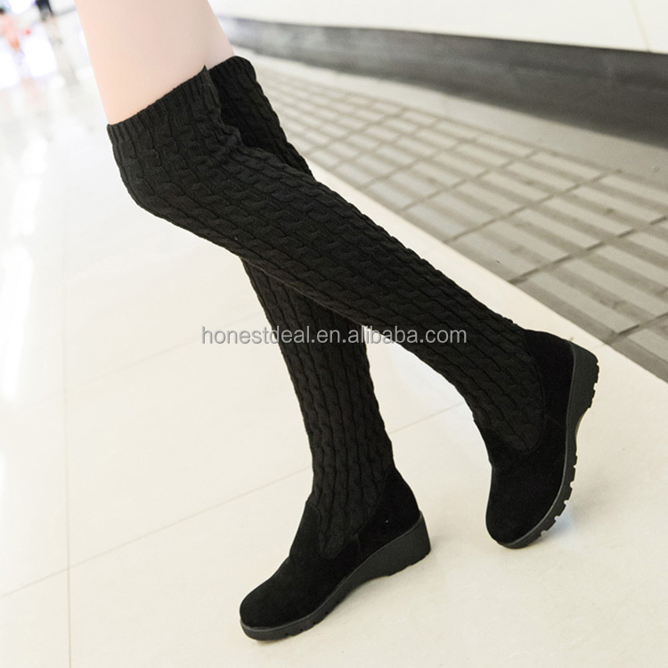 2017 sexy Women black suede folded wool thigh high slip on anti-slip wedge heel boots