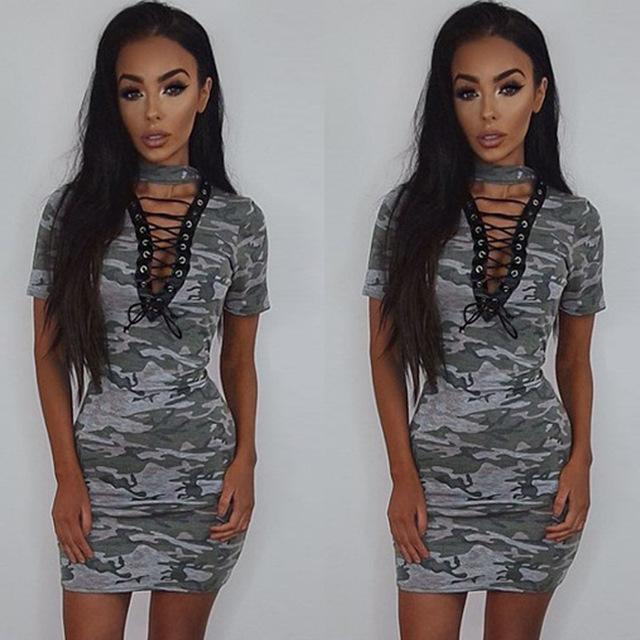 ummer women sexy camouflage belt short sleeve dress apparel