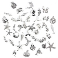 Antique Silver Sea Animal Shape Marine Organism Alloy Pendant Bracelet Charm For DIY Fashion Jewelry Making Accessories