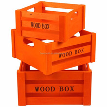 S/3 cheap Mini used vintage wooden wine crate for vegetable wholesale for sale