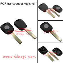 Replacement Peugeot 407 transponder car key shell with plastic logo
