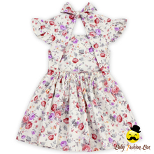 Vintage Pattern Summer Party Flower Tie Up Dress Back To School Girl Child Dress