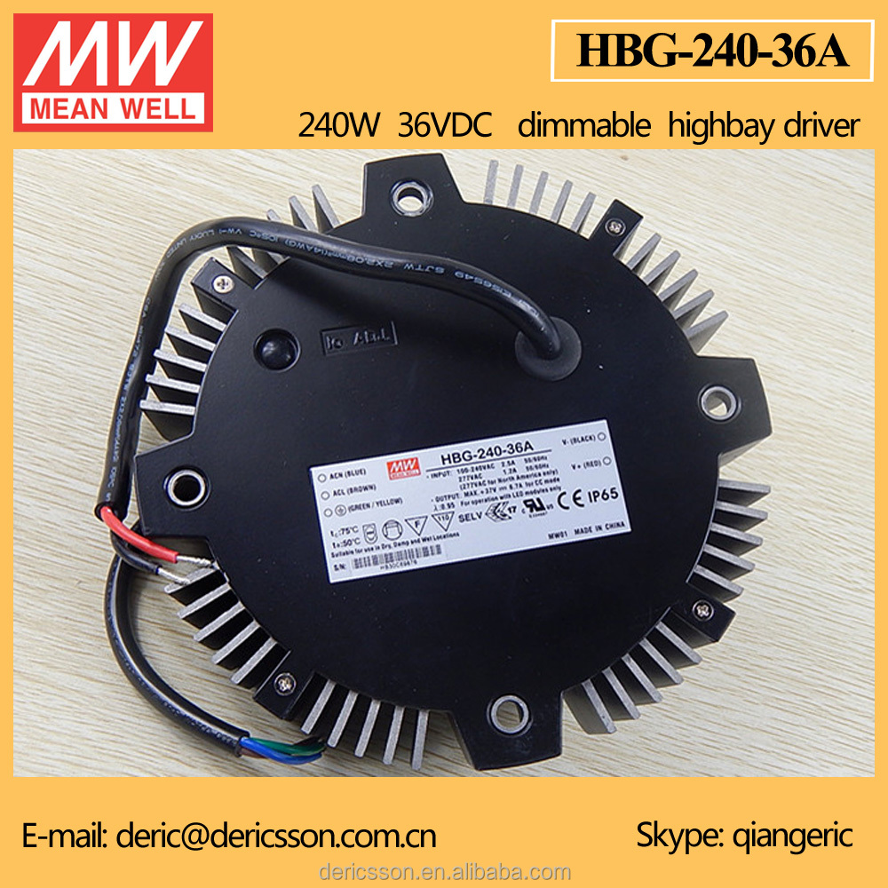 MeanWell 240W Round LED Driver High/Low Bay Lighting 36V Constant Voltage IP 67 HBG-240-36A
