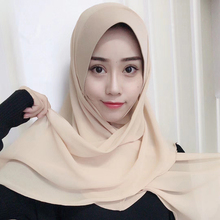 SF17226037 high quality women muslim chiffon scarf islamic georgette shawls headwear solid plain chiffon hijabs