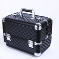 Professional Cosmetic Case Aluminum with Adjustable Dividers Key Lock Makeup Box