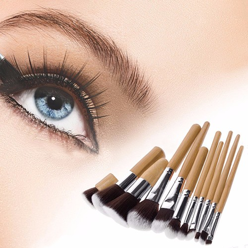Private Label Bamboo Handle Cosmetic Makeup Brush Set, Professional 11pcs Makeup Brushes for Wholesale