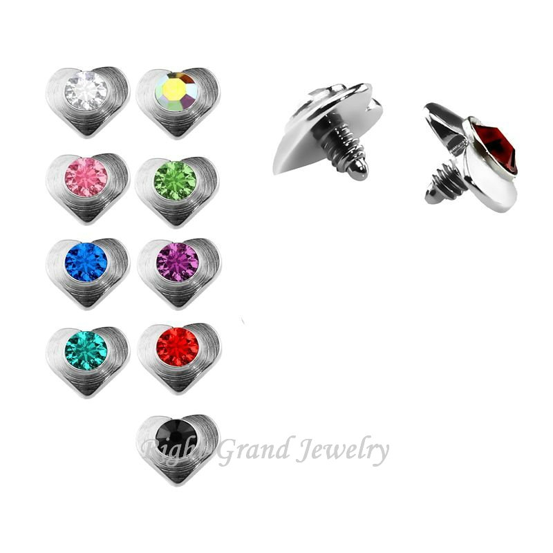 Mixed 316L Surgical Steel Skin Diver 5mm Heart Dermal Anchor Tops Piercing Jewelry