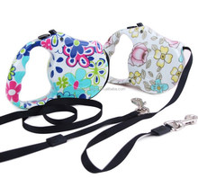Flower Printed Extending Dog Leash Retractable Extendable Pet Lead 5M