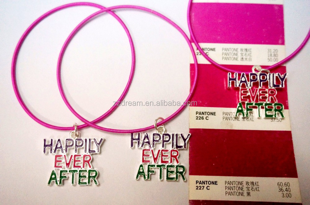 Customized rubber band bracelet personalized elastic cord bracelet alloy happily ever after bracelet jewelry