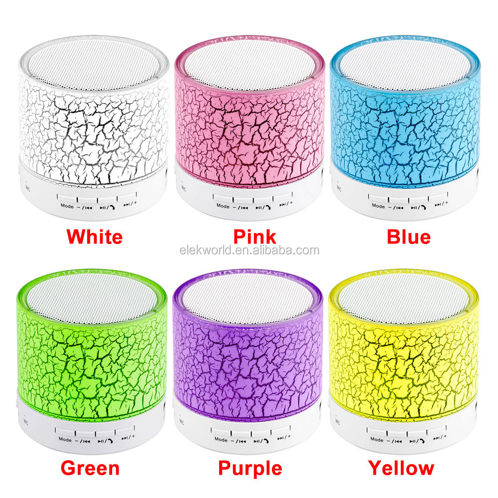 2017 top sell Crack Texture Colorful LED Flash Mini wireless Speaker , w/retail package for i-Phone