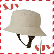 Wide Brim UV Protection Plain Bucket Surf Hat With Chin Strap