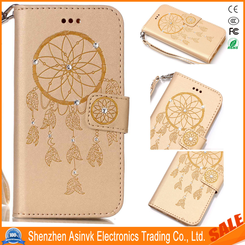 Rhinestone Kickstand Shockproof Card Slots Wrist Strap Leather Case For ZTE Zmax Pro/Carry Z981