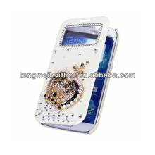 3D Bling Wallet Smart Leather Flip Smart Cover Case For Samsung Galaxy S4 i9500,Cute case For Samsung Galaxy S4