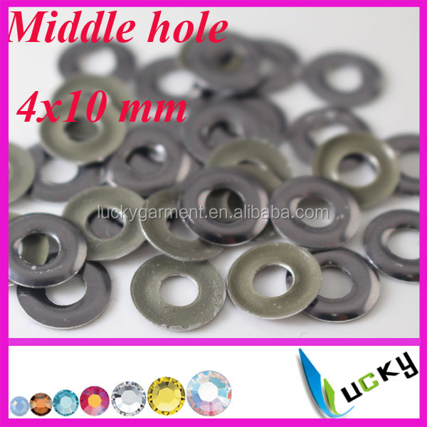 2014 new design korean hotfix nailheads middle hole iron on studs 4x10 mm