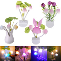 Best Price Lovely Mushroom LED Auto Light Sensor Night Light Color Changing Kid Bedroom Lamp Home Decor Gift