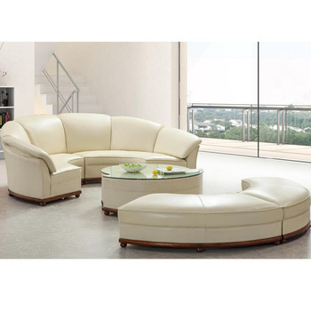 latest round shape sofa in off white leather assembled with half moon footrest buy round shape. Black Bedroom Furniture Sets. Home Design Ideas