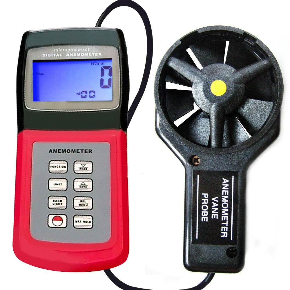 3-range Multi-function Digital Thermo Anemometer Speed Air Wind Flow Temperature Velocity Beaufort Scale