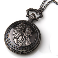 Retro Men Antique Silver India Head Eagle Pocket Watch