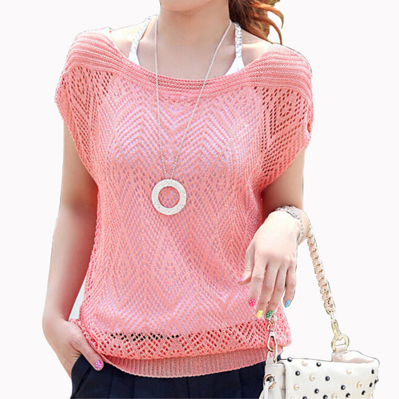 2015 new Spring summer style sweet candy 6 color women sweater loose Crochet knitted blouse batwing hollow pullover sweaters top