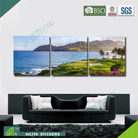 Home decor hotel wall art customized diy modern three panel handmade beautiful scenery oil painting on canvas
