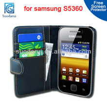 Mix Colors, Flip leather case For Samsung S5360 Galaxy Y Young cover
