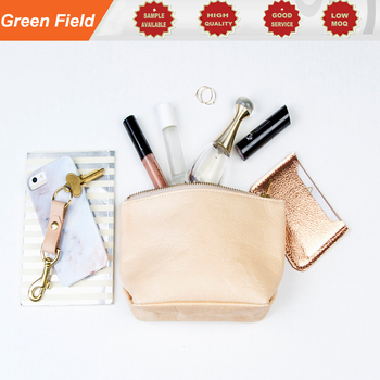 Leather cosmetic bag, metal zipper leather cosmetic bag