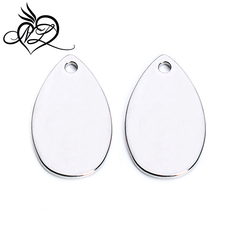 Hot sales water drop shape charm tags custom own logo water drop steel charms for jewelry <strong>accessories</strong>