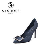 D682 2018 Promotional design navy blue women shoes rhinestone high heels