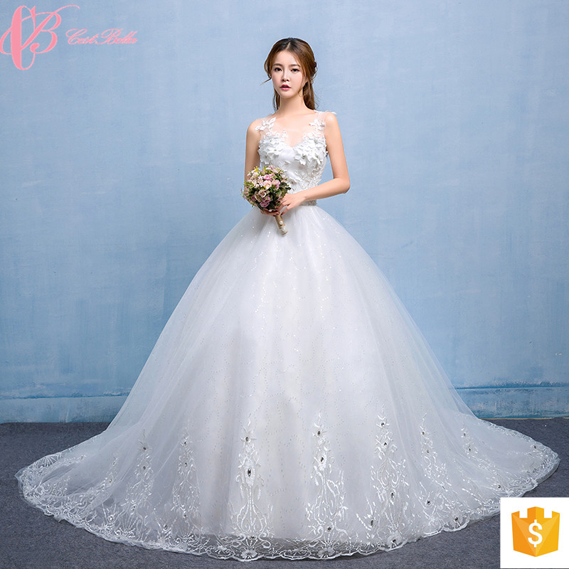 Alibaba Sexy Lace Applique Long Tail V Neck Wedding Dress Philippines